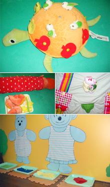 玩法:讓寶寶將裝飾物扣到小烏龜背上,在學習鈕